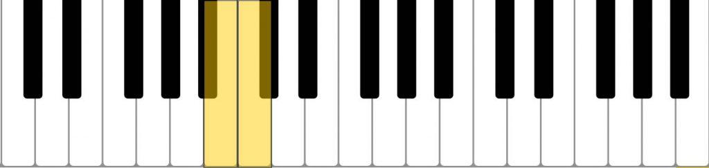piano semitone (B C)